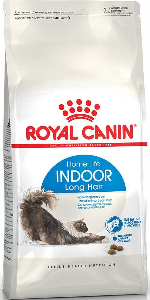 Royal Canin Сухой корм для взрослых домашних котов и кошек с длинной шерстью Indoor Long Hair 35 Home Life (2 кг)