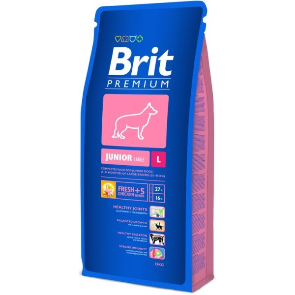 Brit Premium Сухой корм для щенков крупных пород от 4 до 24 месяцев Junior L (15 кг)Brit<br>Brit Premium Сухой корм для щенков крупных пород от 4 до 24 месяцев Junior L<br>