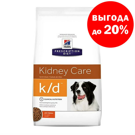 HILL'S Prescription Diet Сухой корм для собак при лечении почек Canine k/d Kidney Care with Chicken