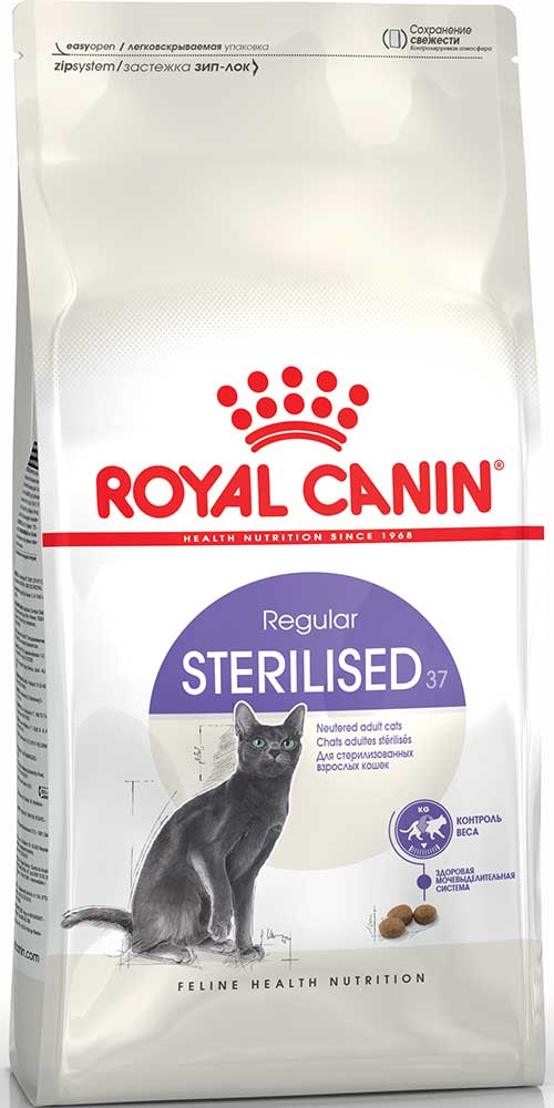 Royal Canin Сухой корм для взрослых стерилизованных кошек и кастрированных котов Regular Sterilised 37 (2 кг)